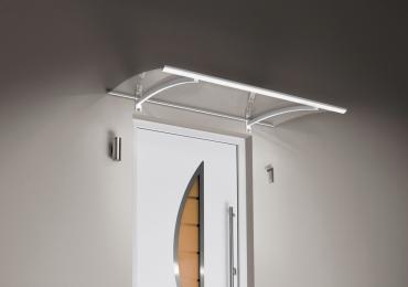 Haustürvordach Pultvordach mit LED weiss  150 x 90 x 22 cm