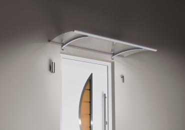 Haustürvordach Pultvordach mit LED Edelstahl 150 x 90 x 22 cm