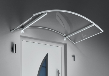 Haustürvordach Bogenvordach mit LED150x90x25 Maße: 150 x 90 x 25 cm (BxTxH)