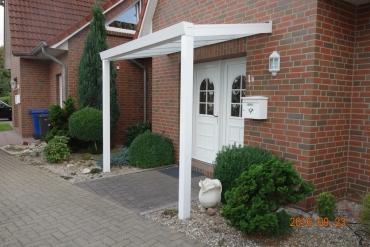 Block Haustürvordach aus Aluminium 200x100 cm mit Stegdoppelplatteneindeckung